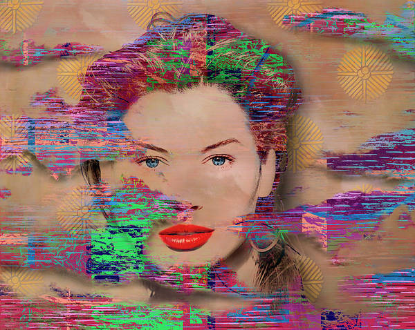 Wall Art - Photograph - Glitch Style 80s Lady Fantasy by Panoramic Images