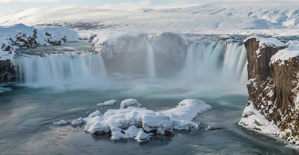 Wall Art - Photograph - Godafoss Waterfall In Winter, Iceland by Panoramic Images