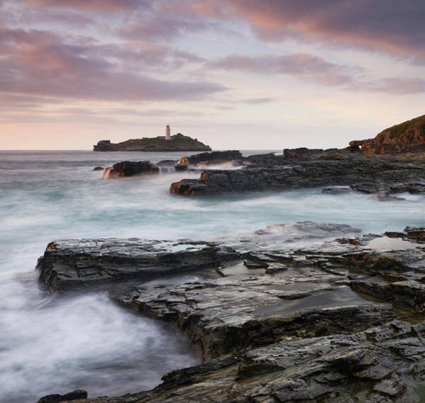 Photograph - Godrevy Lighthouse Off The Rocky Coast by Adam Burton