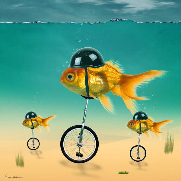 Wall Art - Pyrography - Gold Fish 3 by Mark Ashkenazi