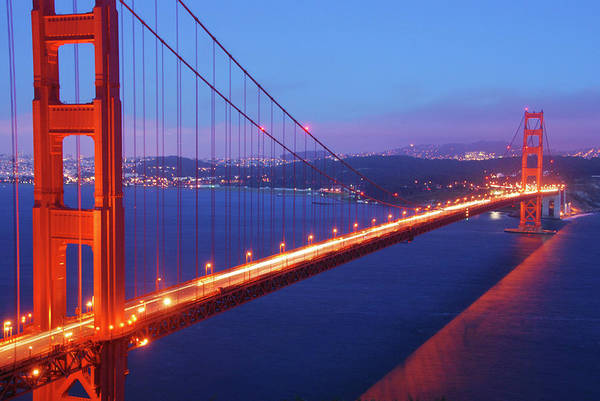 Wall Art - Photograph - Golden Gate Bridge At Night, San by Anna Miller