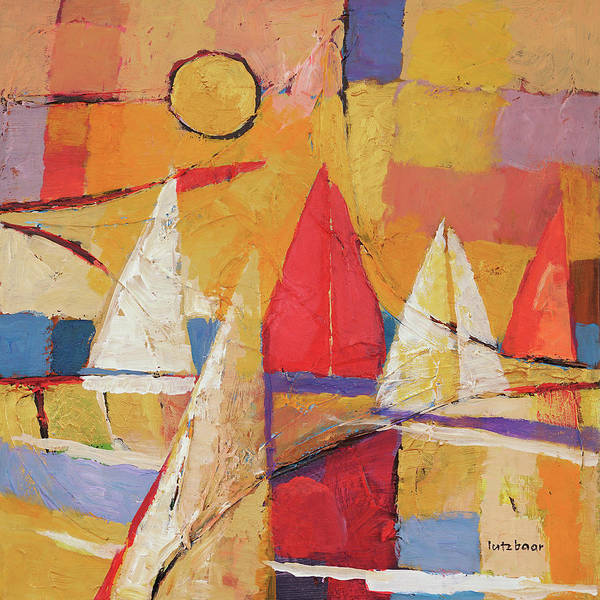 Wall Art - Painting - Golden Hour Sailing by Lutz Baar
