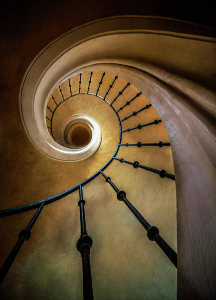 Wall Art - Photograph - Golden Spiral Staircase by Jaroslaw Blaminsky