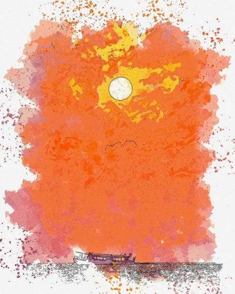 Painting - Golden Sun Watercolor By Ahmet Asar by Ahmet Asar