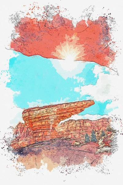 Painting - Grand Canyon -  Watercolor By Adam Asar by Adam Asar
