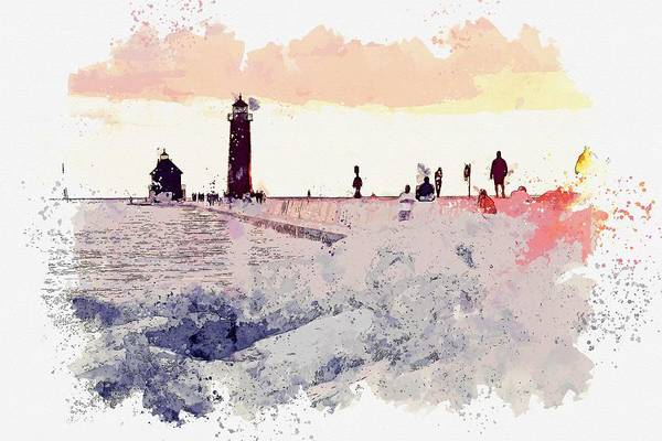 Painting - Grand Haven State Park, Grand Haven, United States -  Watercolor By Adam Asar by Adam Asar