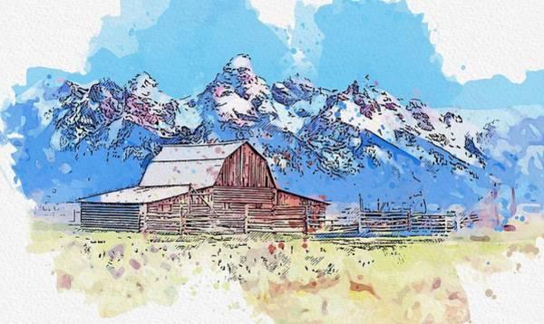 Painting - Grand Teton Mountains -  Watercolor By Ahmet Asar by Ahmet Asar