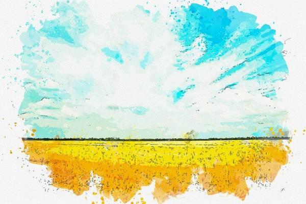 Painting - Grass Field, Watercolor By Adam Asar by Adam Asar