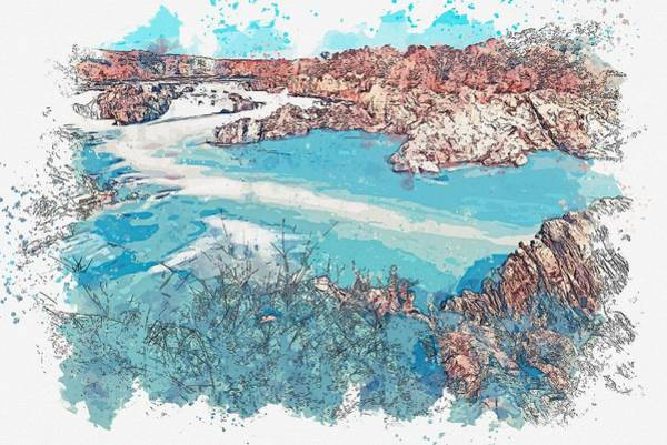 Painting - Great Falls, United States -  Watercolor By Adam Asar by Celestial Images