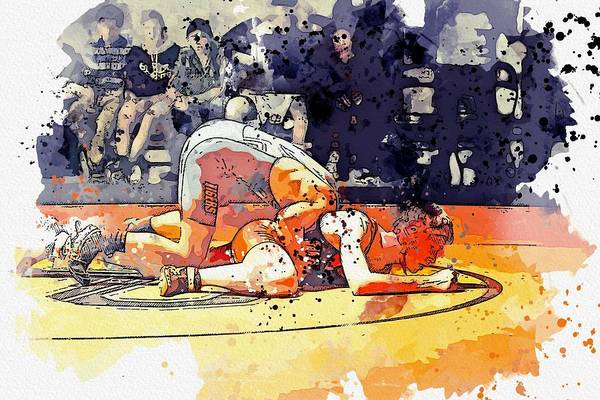 Wall Art - Painting - Greco Wrestling 2 Watercolor By Ahmet Asar by Ahmet Asar