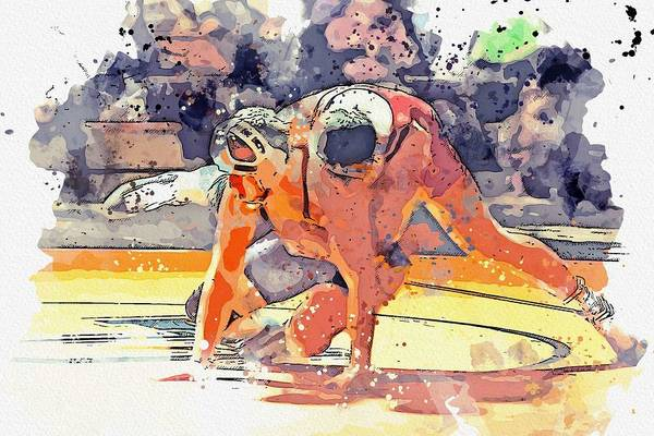 Wall Art - Painting - Greco Wrestling 3 Watercolor By Ahmet Asar by Celestial Images