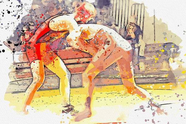 Wall Art - Painting - Greco Wrestling Watercolor By Ahmet Asar by Ahmet Asar