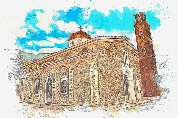 Wall Art - Painting - Greek Church -  Watercolor By Ahmet Asar by Celestial Images
