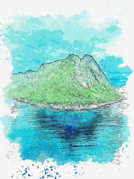 Painting - Green Mountains Near Shore, Watercolor By Adam Asar by Adam Asar
