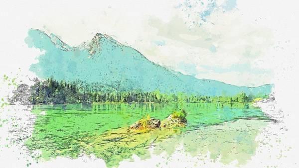 Painting - Green Waters -  Watercolor By Adam Asar by Adam Asar