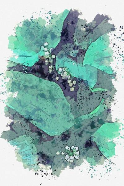 Painting - Greens And Flowers Watercolor By Ahmet Asar by Ahmet Asar