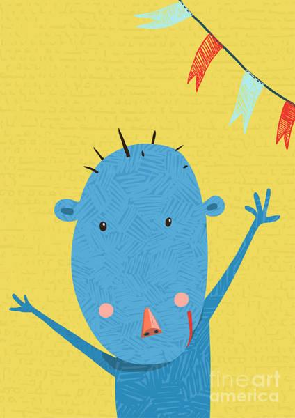 Wall Art - Digital Art - Greeting Card With Cute Monkey by Popmarleo