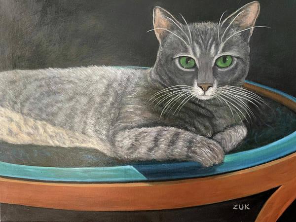 Painting - Grey Tabby Cat by Karen Zuk Rosenblatt