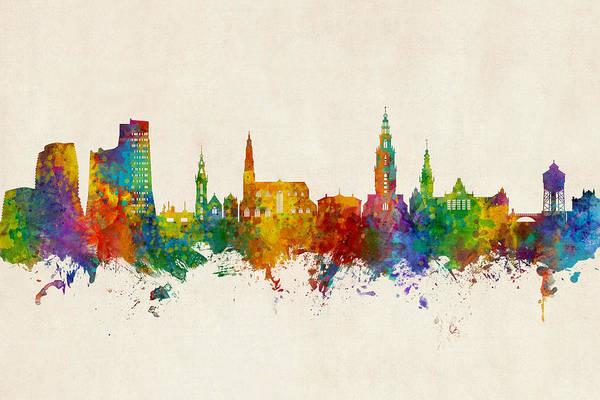 Digital Art - Groningen The Netherlands Skyline by Michael Tompsett