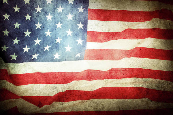 Wall Art - Photograph - Grunge American Flag by Les Cunliffe