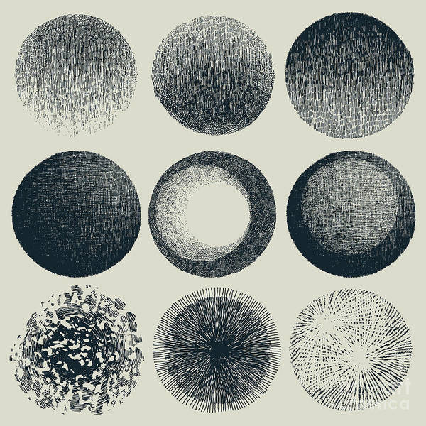 Engraved Digital Art - Grunge Halftone Drawing Textures Set by Jumpingsack