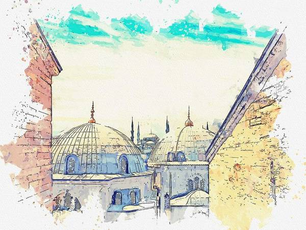 Painting - Hagia Sophia Mosque, Istanbul Turkey  C2019, Watercolor By Adam Asar by Adam Asar