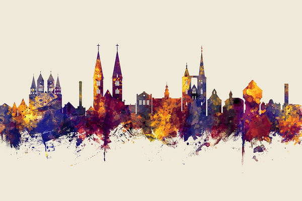 Wall Art - Digital Art - Halberstadt Germany Skyline by Michael Tompsett