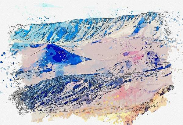 Painting - Haleakala, Kula, United States Watercolor By Ahmet Asar by Ahmet Asar
