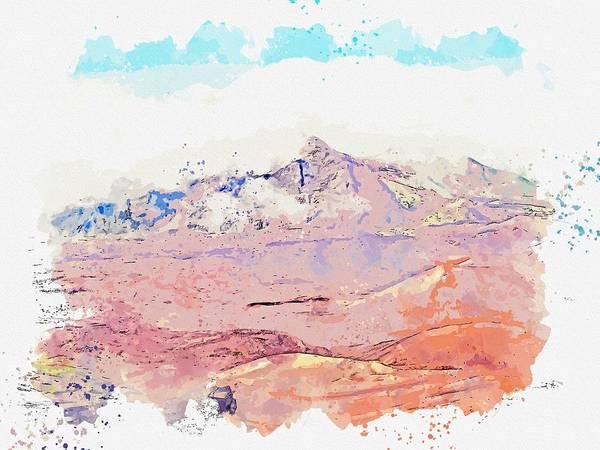 Painting - Haleakala National Park, Kula , Usa -  Watercolor By Adam Asar by Adam Asar