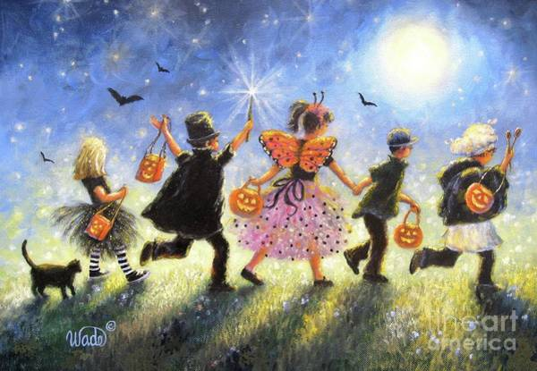 Wall Art - Painting - Halloween Parade Prowlers by Vickie Wade