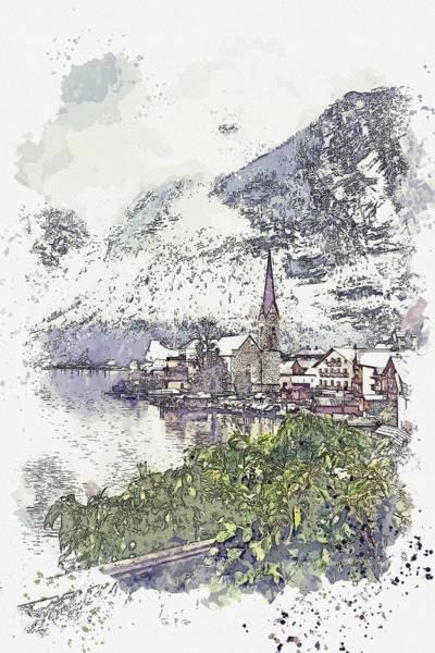 Painting - Hallstatt, Austria -  Watercolor By Adam Asar by Adam Asar