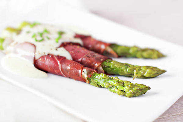 Delicatessen Photograph - Ham Rolls With Asparagus And Bechamel by Svariophoto
