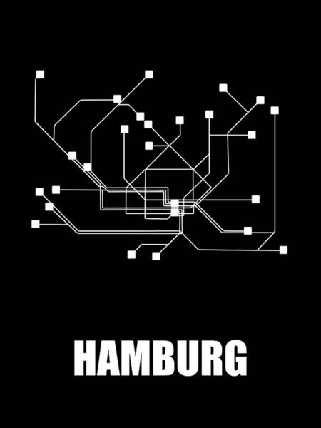 Wall Art - Digital Art - Hamburg Black Subway Map by Naxart Studio
