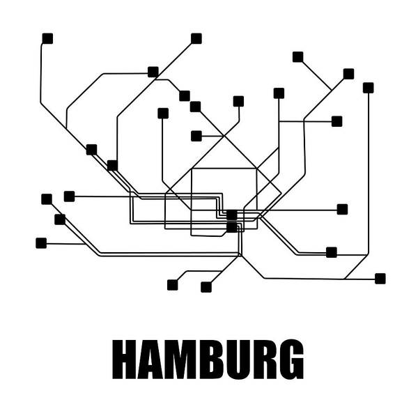 Wall Art - Digital Art - Hamburg White Subway Map by Naxart Studio