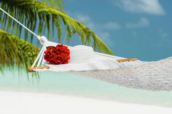 Sun Photograph - Hammock With Flowers And Hat On A by Pete Atkinson
