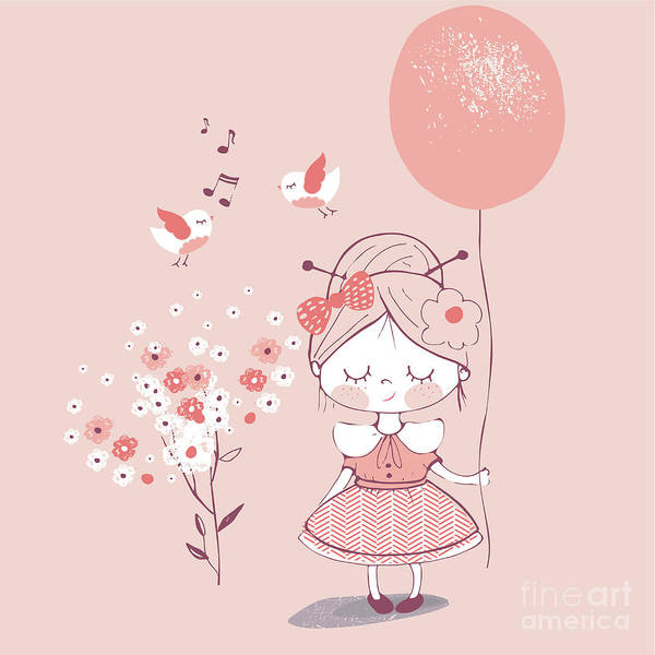 Celebration Digital Art - Hand Drawn Vector Illustration Of Cute by Eteri Davinski