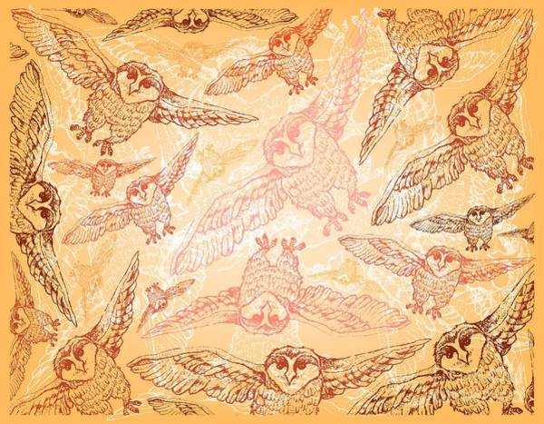 Wall Art - Drawing - Hand Drawn Wallpaper Background Of Autumn Owls by Iam Nee