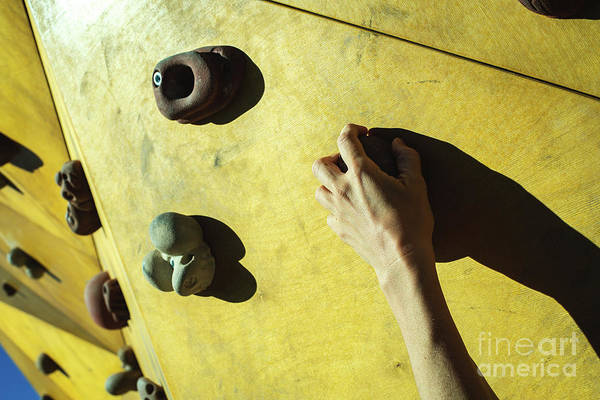 Wall Art - Photograph - Hand Of A Person Trying To Climb The Fixie Of A Climbing Wall by Joaquin Corbalan