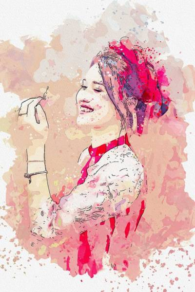 Painting - Happy Beauty -  Watercolor By Adam Asar by Adam Asar