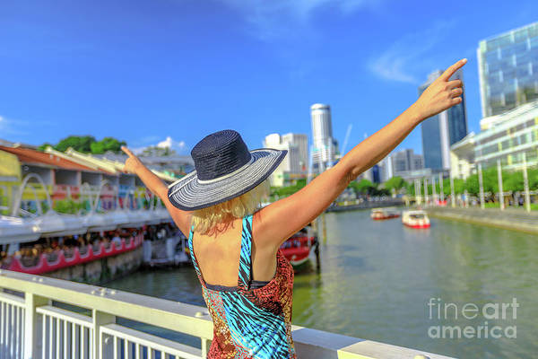 Photograph - Happy Girl At Clarke Quay by Benny Marty