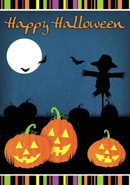 Pumpkin Digital Art - Happy Halloween I by Josefina