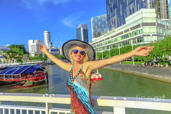 Photograph - Happy Woman At Clarke Quay by Benny Marty