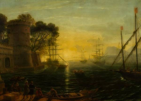 Wall Art - Painting - Harbor At Sunset by Follower Of Claude Lorrain