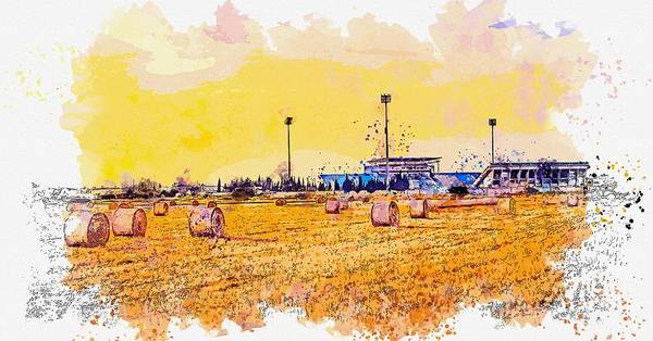 Painting - Hay Stacks 2 -  Watercolor By Ahmet Asar by Celestial Images