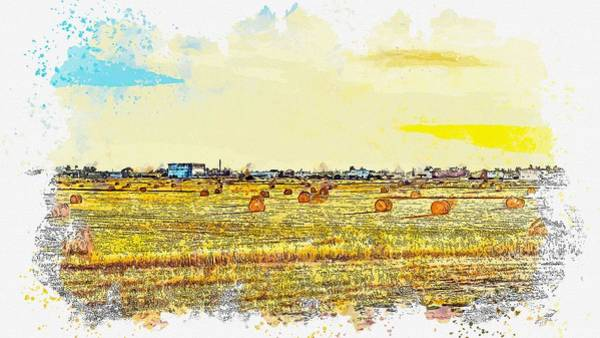 Painting - Hay Stacks -  Watercolor By Ahmet Asar by Celestial Images