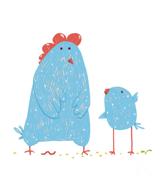 Wall Art - Digital Art - Hen And Chicken Childish Cartoon by Popmarleo
