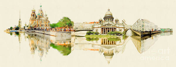 Monuments Digital Art - High Resolution Panoramic Water Color by Trentemoller