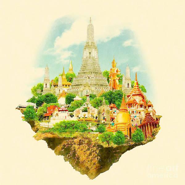 Pagoda Wall Art - Digital Art - High Resolution Watercolor Illustration by Trentemoller