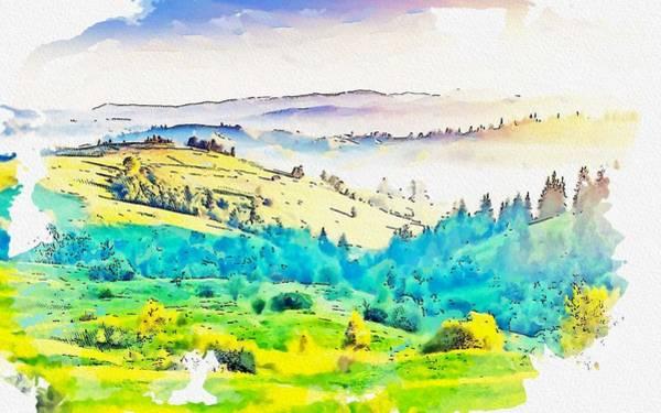 Wall Art - Painting - Hills India Nature Kodaikanal Trees Landscape, Watercolor, C2019 By Adam Asar by Adam Asar