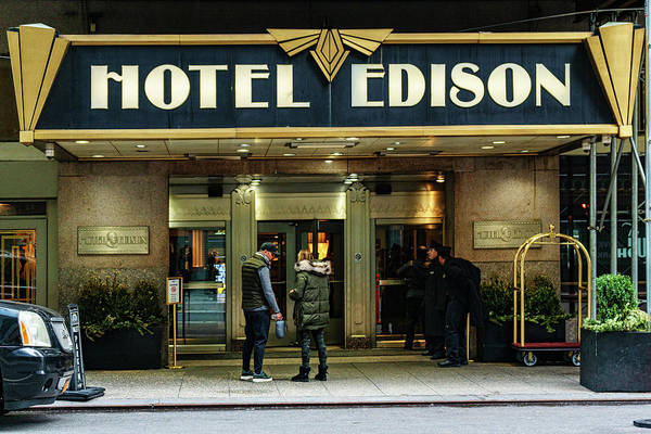 Photograph - Hotel Edison Sign by Sharon Popek